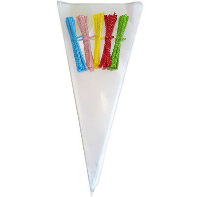 50pcs Clear Cellophane Cone Empty Bags Free Twist Ties Kids Party Sweet Candy