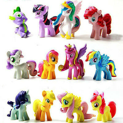 12Pcs My Little Pony Cake Topper PVC Action Figures Toys Doll Kids Collectable