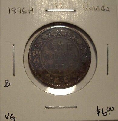 B Canada Victoria 1876H Large Cent - VG