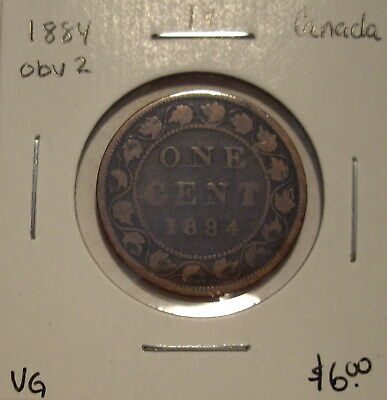 Canada Victoria 1884 Obv 2 Large Cent - VG