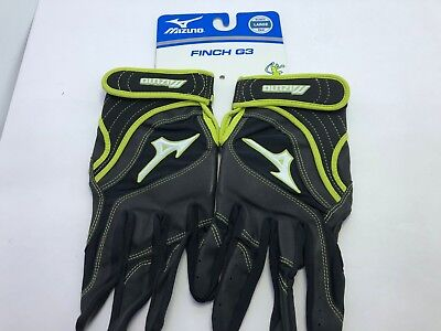 Mizuno Womens Batting Gloves Finch G3 Black w Green Size Large L