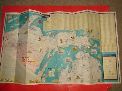 HS605 Vintage Gulf Oil Info Map of Michigan
