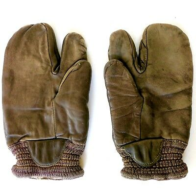 WW2 USN US Navy Gunner 3 Fingered Gloves Mittens Brown Leather Pair 1