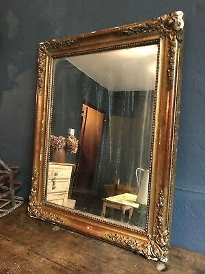 19th Century Antique French Gilt Foxed Mirror