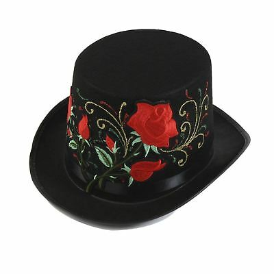 b55db84743de08 Steampunk Victorian Day Of The Dead Glitter Roses Top Hat Halloween  Accessory