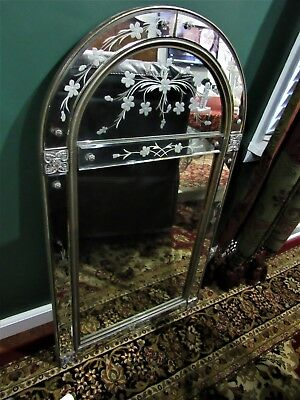 """Antique Mirror Vintage Italian Venetian Beveled & Etched Large 24 wide x 43"""" H"""