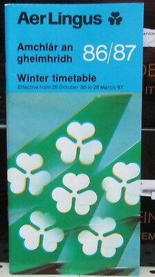 Aer Lingus Airlines 1986  System Timetable