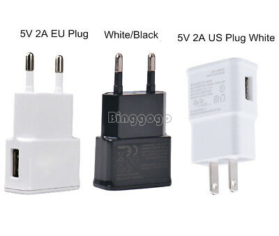 White/Black 5V 2A US/EU Plug 1 Port USB Wall Charger Fast Power Adapter Travel