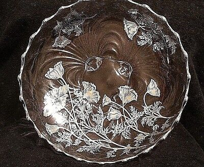 """Vintage Silver Overlay Floral Design Footed Ruffled edge 10"""" x 10"""" SERVING DISH"""