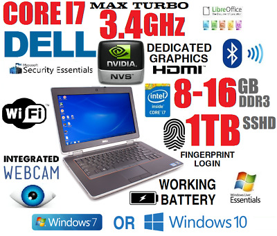 Dell Laptop Business Rugged Core I7 Turbo 3.4Ghz Notebook Dvdrw Wifi Sshd Camera