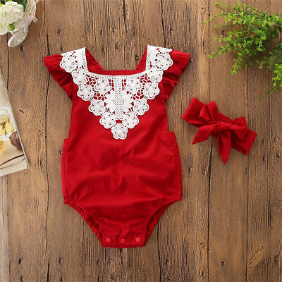 Toddler Newborn Baby Girls Lace Floral Romper Jumpsuit Playsuit Sunsuit Clothes