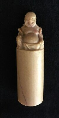 Chinese LAUGHING BUDDHA, Traditional CHOP, Artist Stamp, Seal, Carved Stone, 4""