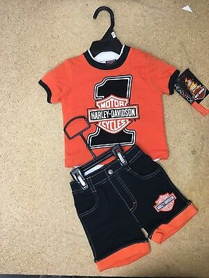 Harley Davidson Baby Boys Clothes 12 months - One Piece Tee Shirt & Shorts *NEW*