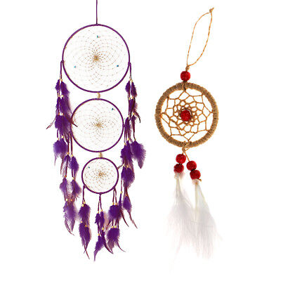 2pcs Dream Catcher Feathers Bead Wall Hanging Decor Ornament Purple&Brown