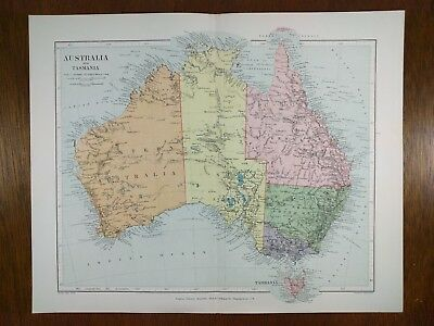 STANFORD 1896 AUSTRALIA Map Old VICTORIA QUEENSLAND NEW SOUTH WALES SYDNEY MAPZ