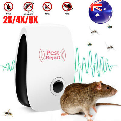 4/8 Pest Repeller Reject Ultrasonic Electronic Mouse Rat Mosquito Insect Control