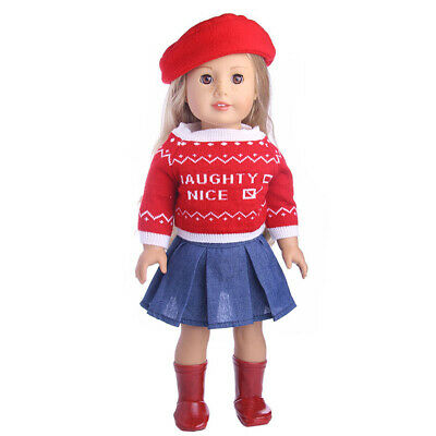 Cute Knitwear Top and Denim Dress Outfit w/Hat for 18'' American Girl Dolls