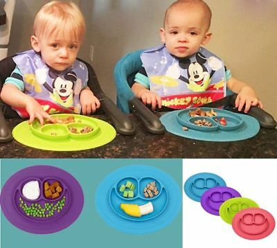 New Silicone Happy Mat Baby Kids Suction Table Food Tray Placemat Plate Bowl UK