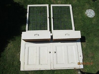 Pine Alcove Dresser Cupboards Drawers Lead Lite Doors Victorian Large Size