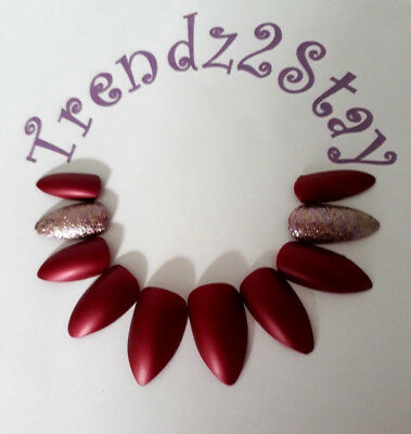 Hand Painted, Stiletto False Nails, Satin Matte Red, Bronze Glitter