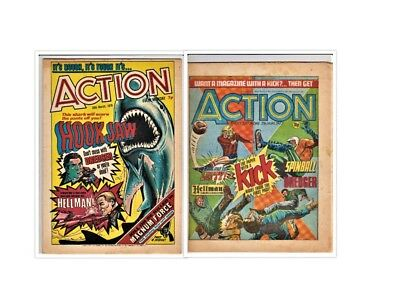ACTION  # 6 + 13 (2 x 1976 comics) pre-ban issues 7 penny nightmare IPC