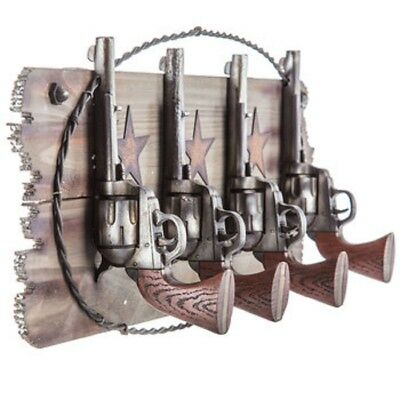 Pistols Western Coat Rack Hook set Farm House Ranch Home Decor Man Cave