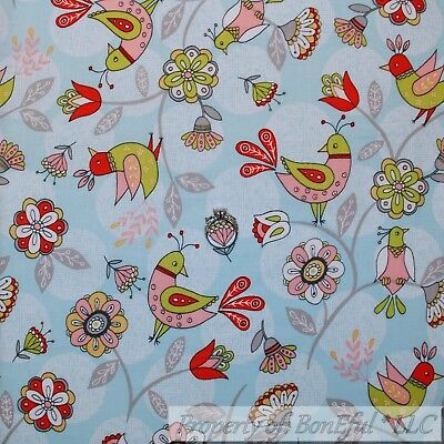 BonEful Fabric FQ Cotton Quilt Tan Pink Blue Spring Robin Bird Flower Tree Toile
