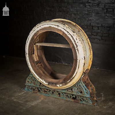 Large 19th C Double Sided Railway Clock Surround with Decorative Cast Iron Mount