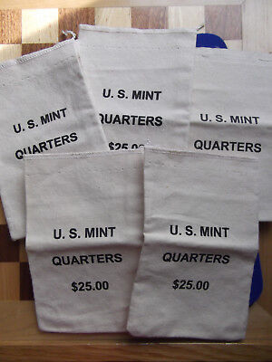 """lot of 5 small empty coin bags canvas cloth state quarters $25 U.S. Mint 5"""" x 8"""""""