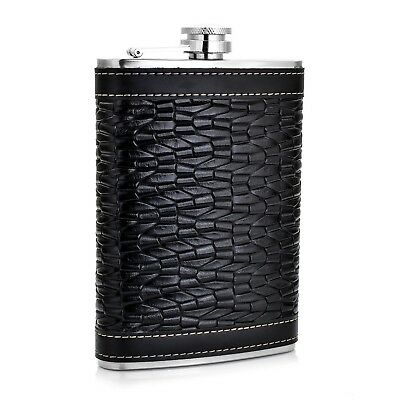 GENNISSY Beast Grain Hip Flask PU Leather and Stainless Steel With Funnel... New
