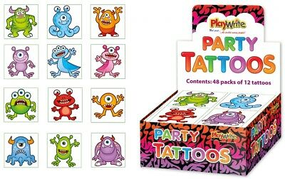 72 Monster Tattoos (6 Packs Of 12) - Pinata Toy Loot/Party Bag Fillers Kids