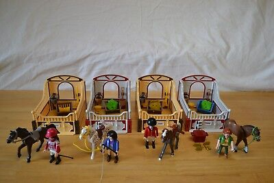 Playmobil 4xPferdebox 5107 Knabstrupper,5108 Shire Horse,5110 Trakehner,5112 Ara