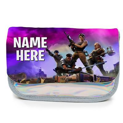Personalised Pencil Case FORTNITE Royal Holographic Shiny Silver Girls KS151