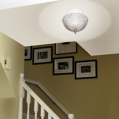 Hampton Direct Ceiling Clip On Diamond Cut Acrylic Dome Light Shade Bulb Fixture