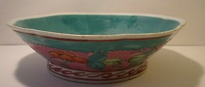 """7.75"""" Chinese Famille Rose Octagonal Hand Painted Bowl (1)"""