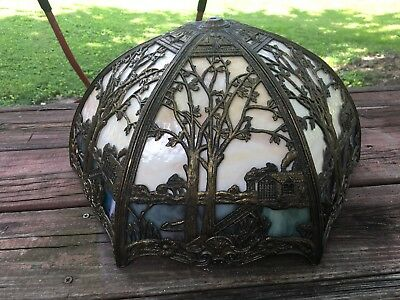 Slag Glass Lamp Shade Cattails Trees House Bent Glass