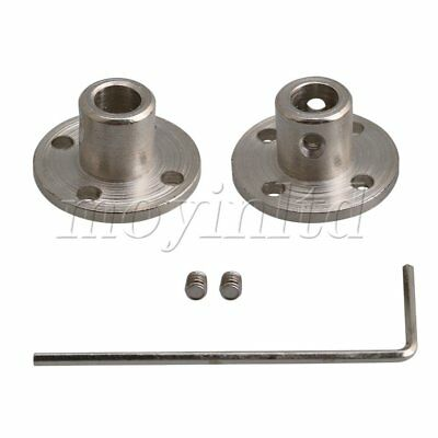 5-10mm Steel Rigid Flange Coupling Shaft Coupler Connectos Set of 2 Silver