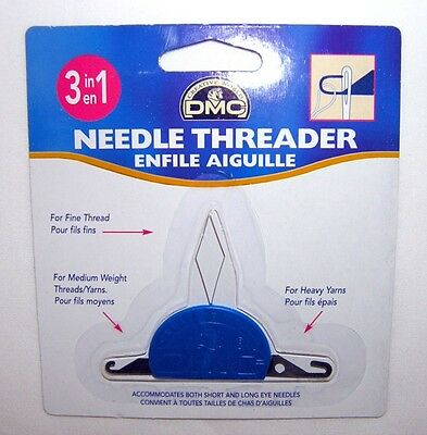 NEEDLE THREADER ~ DMC 3 in 1 Tool for Needlepoint, Cross Stitch for all Needles
