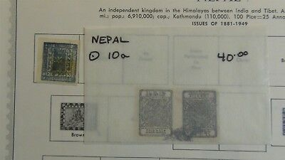 Nepal Stamp collection / accumulation on Minkus pages stock, glassines, etc.