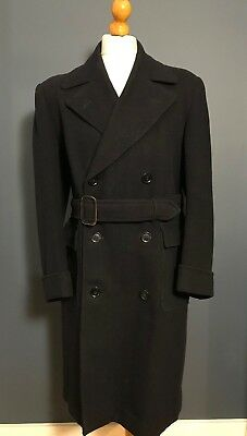 . Vintage double breasted belted navy blue 1940's CC41 overcoat size 40 42