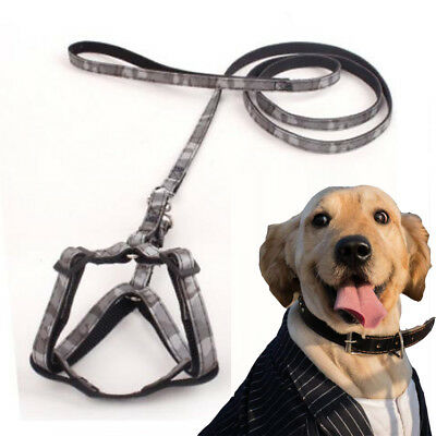Dog Harness and Leash Set Camouflage Adjustable Pet Accessories -Black,size 4