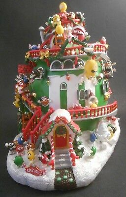 Danbury Mint M&M's Christmas House NO CORD Minis Orange Green Red Blue Yellow