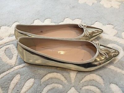 b9258989458f J. Crew GEMMA Gold Leather Mirror Pointed Toe Ballet Flats Shoes 7.5  Excellent