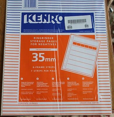 Kenro Knf 08 Translucent Ringbinder Storage Pages For Negatives  25 Pages