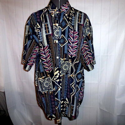 Cerutti 1881 Italy L vintage tribal pattern brown black casual shirt  (F57)