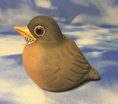 "Rare Adorable 2"" Vintage M-D Painted Ceramic Pottery ""Baby Robin"" Bird Figurine"