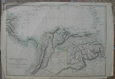 1864 Large Antique Dispatch Atlas Map Central America Panama Venezuela Columbia