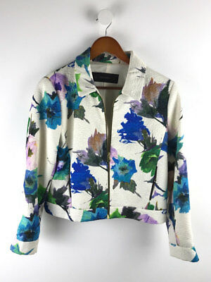 Zara Womens Cream Floral Zip Textured Jacket Size L (UK 14)