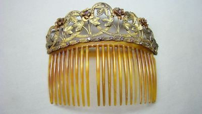 Antique Victorian Gilt Hair Comb Ornate w Pink Jewels