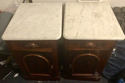 Antique Flame Mahogany Nightstands Bedside Table Marble Top X2